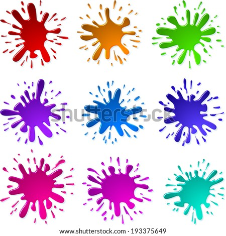Multicolored blots and splashes of a paint and ink; Set B;  Each Paint Splash is unique; Raster Version - stock photo