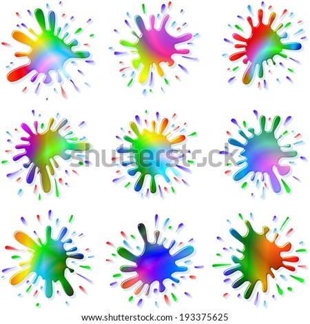 Multicolored blots and splashes of a paint and ink; Set C;  Each Paint Splash is unique; Raster Version - stock photo