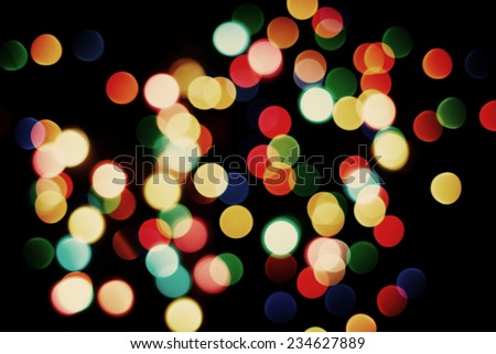 multicolored blurred christmas lights. colorful background bokeh - stock photo