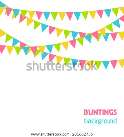 Multicolored bright buntings flags garlands isolated on white background - stock photo