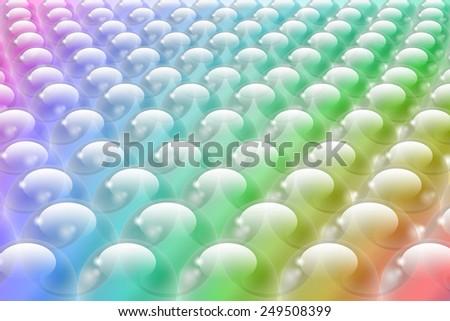 Multicolored bubbles in rows, horizontal - stock photo