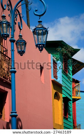 Multicolored buildings located in La Boca, Buenos Aires, Argentina - stock photo