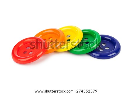 Multicolored buttons isolated on white background - stock photo