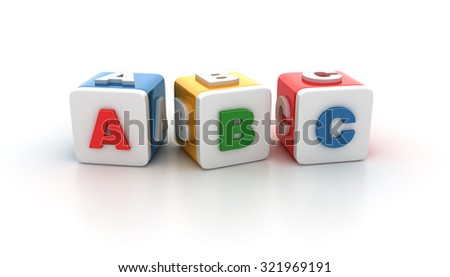 Multicolored Buzzword Blocks Spelling ABC Numbers on White Background. Reflections and Shadows.  High Quality 3D Rendering - stock photo