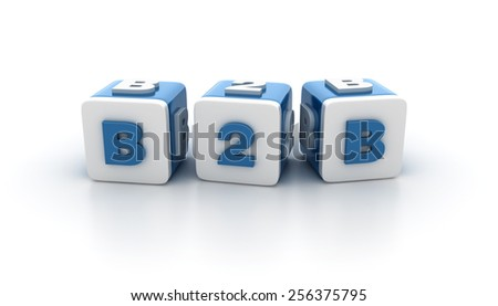 Multicolored Buzzword Blocks Spelling B2B Text on White Background. Reflections and Shadows.  High Quality 3D Rendering - stock photo