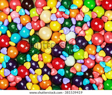 multicolored candy and chewing gum background