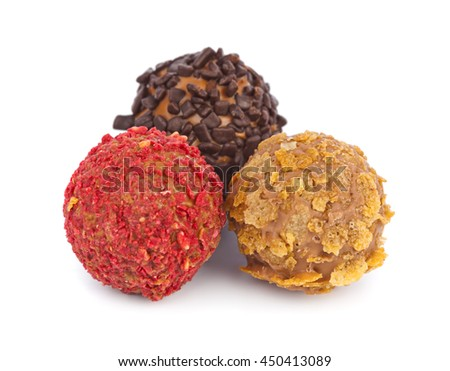 Multicolored candy isolated on white background - stock photo
