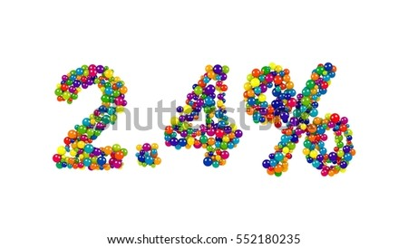 Multicolored candy sweets arranged in shape of 2.4 percent on white background