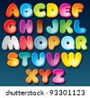 Multicolored Cartoon Font, Set of Isolated Symbols for your Design - stock vector
