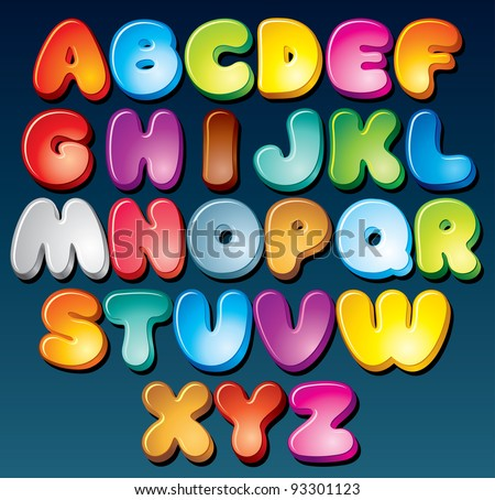 Multicolored Cartoon Font, Set of Isolated Symbols for your Design - stock photo