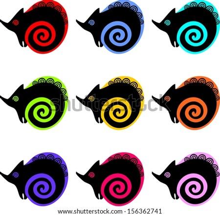 Multicolored chameleons - stock photo