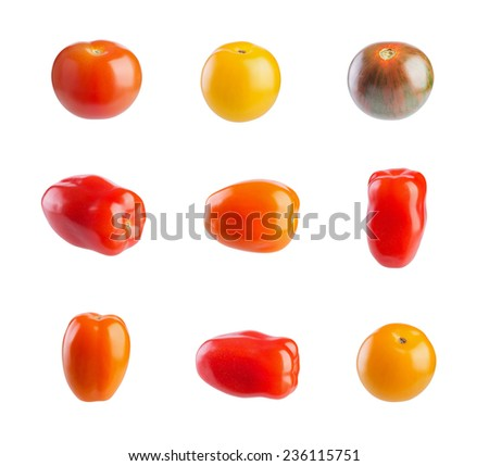 Multicolored cherry tomatoes isolated on white background  - stock photo