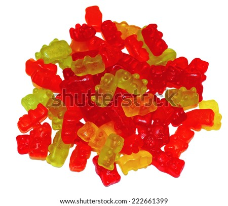 Multicolored Chewing marmalade as bears isolated - stock photo