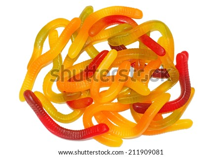 Multicolored Chewing marmalade as worms isolated                                - stock photo