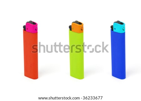 Multicolored Cigarette Lighters on Isolated White Background - stock photo