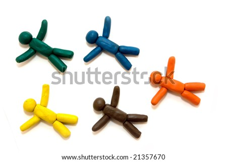 Multicolored clay people flying over the white background - stock photo