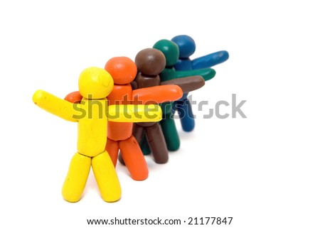 Multicolored clay people trying to catch a taxi - stock photo