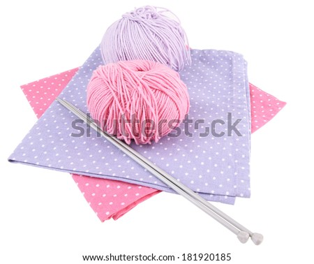 Multicolored clews with needles and napkins isolated on white - stock photo