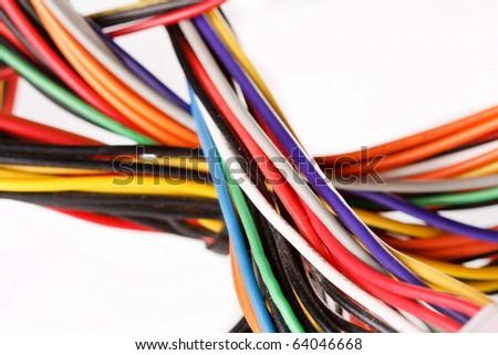 Multicolored computer cable - stock photo