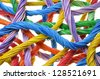 Multicolored computer cable bundles isolated on white background - stock photo