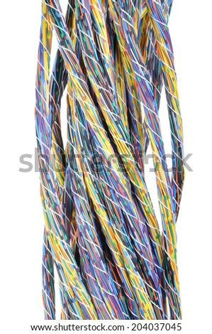 Multicolored computer cables bundles isolated on white background  - stock photo