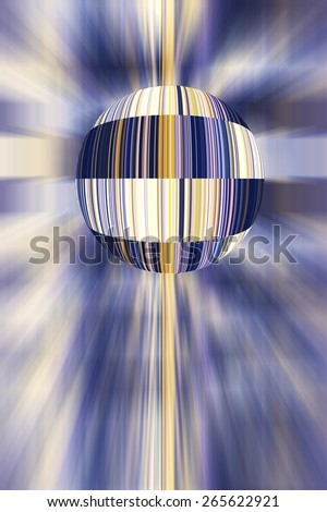 Multicolored conceptual illustration of a world covered with barcodes surrounded by radial blur, for themes of retail and business, standardization, and identification on a galactic scale - stock photo