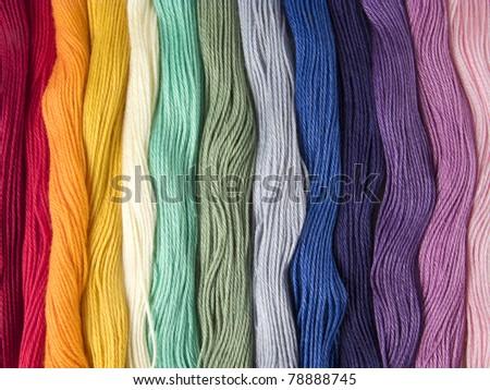 Multicolored cotton threads - stock photo
