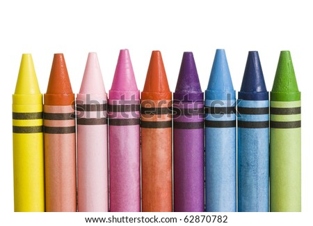 Multicolored Crayons Isolated On White - stock photo