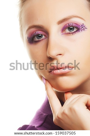Multicolored creativity make-up. Close-up portrait of young beautiful woman. - stock photo