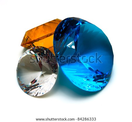 Multicolored crystals isolated on white - stock photo