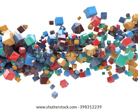 MultiColored cubes Abstract Background - 3D rendered illustration - stock photo