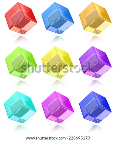 Multicolored cubes set - stock photo