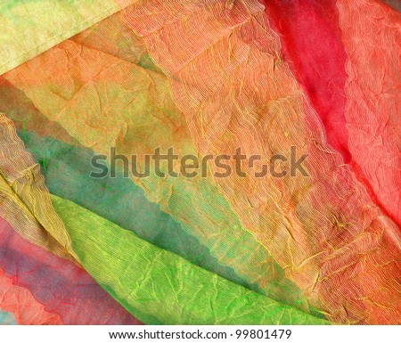 Multicolored curtains transparent and in multiple layers - stock photo
