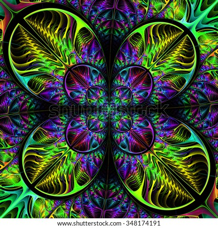 Multicolored diagonal symmetric pattern of the leaves. Collection - tree foliage. In blue, green palette. On black background. - stock photo