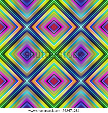 Multicolored diamond shape tiles seamless illustration. - stock photo