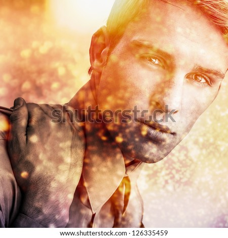 Multicolored digital painted image portrait of elegant young handsome man. - stock photo