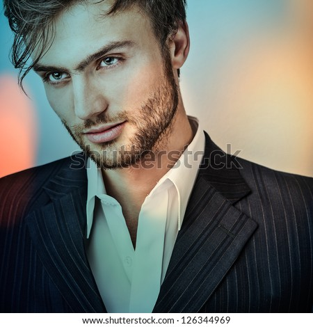 Multicolored digital painted image portrait of elegant young handsome man.