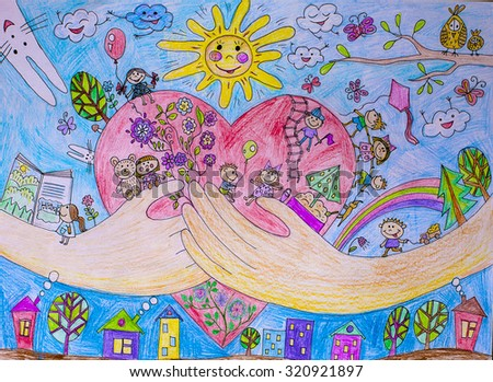 Multicolored Drawing Paint Childrens World Drawing Stock Photo Edit