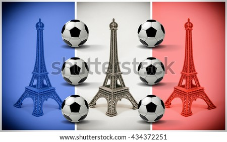 Multicolored Eiffel Tower models with french flag and soccer balls. Concept for football championship - stock photo