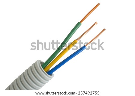multicolored Electrical cable on isolated white background - stock photo