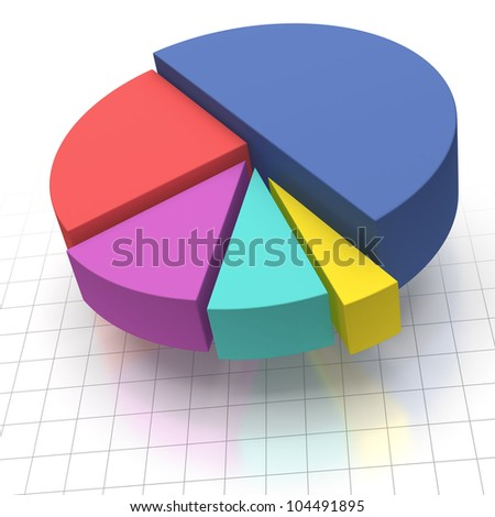 Multicolored Elevated Pie Chart on Squared Graph Paper