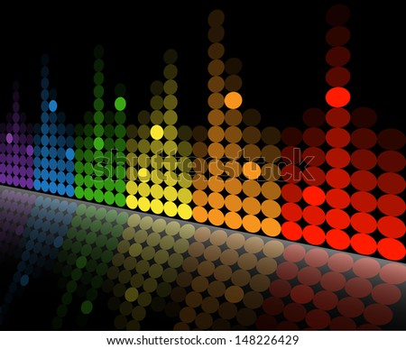 multicolored equalizer with reflection beneath the slope. - stock photo