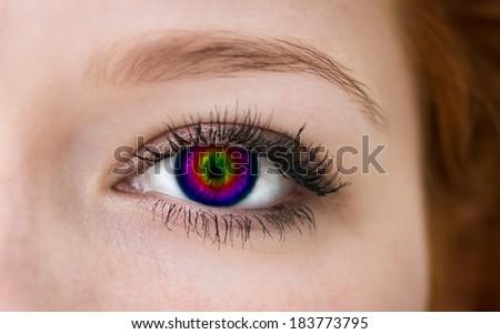 Multicolored eye, macro shot.  - stock photo