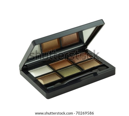 Multicolored eye shadow kit isolated over white background - stock photo