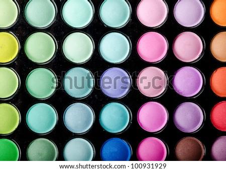 Multicolored eye shadows palette - stock photo