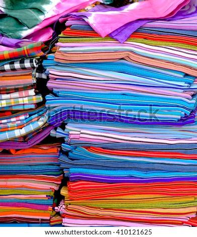 Multicolored fabric - stock photo