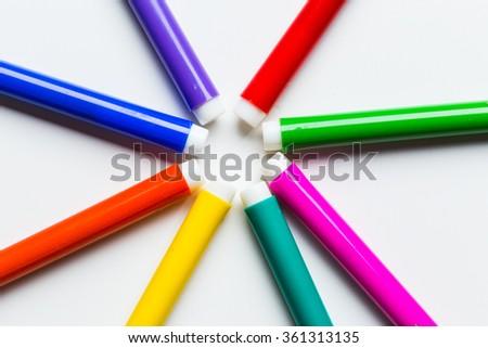 Multicolored Felt Tip Pens - stock photo