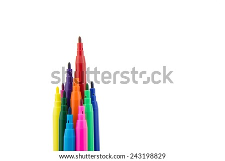 Multicolored felt tip pens isolated on white background - stock photo