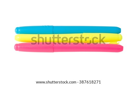 Multicolored Felt-Tip Pens over white background - stock photo