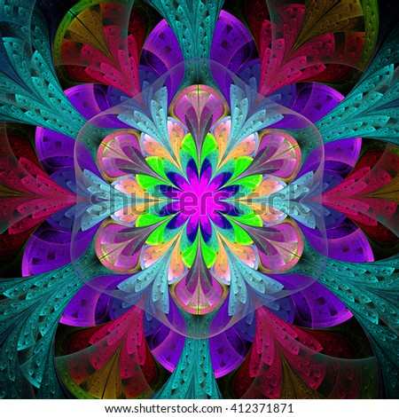 Multicolored fractal flower in stained glass window style. Element of design. You can use it for invitations, notebook covers, phone case, postcards, cards and so on. Artwork for creative design. - stock photo
